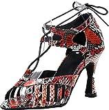 Zapatos de Baile para Mujer, con tacón, Estilo Latino, Moderno, para Fiesta de Baile, Baile de Tango, Novia, Boda, Punta Abierta, tacón de Gatito, Color Rojo, Talla 39 EU
