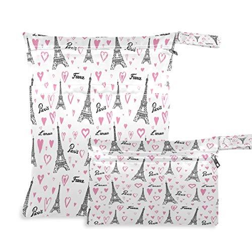 Jumbear - Bolsas de tela para bebé, diseño de la torre Eiffel, impermeables, reutilizables, para viajes, playa, pañales, pañales, bolsa organizadora con dos bolsillos con cremallera para traje de baño y gimnasio, 2 unidades