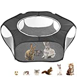 Idepet Small Animals Cage Tent,Hamster Playpen with Portable Breathable Transparent Outdoor/Indoor Yard Fence Guinea Pig Cage Pet Playpen for Hamster Rabbit Ferret Bunny Rat Guinea Pig Black