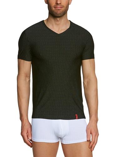 Bruno Banani Herren T-Shirt Regular Fit, gestreift 2205-1063 712, Gr. 7 (XL), Mehrfarbig (712 schwarz/ weiß Streifen)
