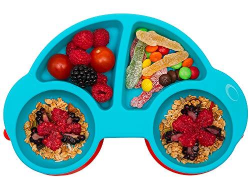 Qshare - Assiettes en silicone pour bébés, enfants en bas âge et enfants, 100% sans BPA et approuvées par la FDA, aspiration forte à la table, lave-vaisselle et au micro-ondes
