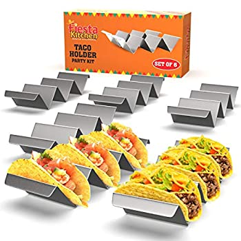 Taco Holder Stand - Set of 6 - Oven & Grill Safe Stainless Steel Taco Racks With Handles - Fill & Serve Tacos With Ease - Taco Trays by Fiesta Kitchen