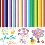DoreenBow 12 Sheets Mothers Day HTV Heat Transfer Vinyl for Shirts Hats 12 x 10 Inch,Iron on Vinyl PU Heat Transfer Viny Colorful - HTV Vinyl Bundle
