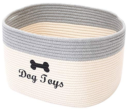 Morezi Cotton Rope Dog Toy Basket with Handle, Large Dog bin, pet Bed, pet Toy Box- Perfect for organizing pet Toys, Blankets, leashes - WhiteGrey