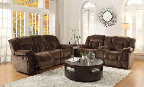 "Homelegance Laurelton 90"" Microfiber Double Reclining Sofa, Chocolate Brown"
