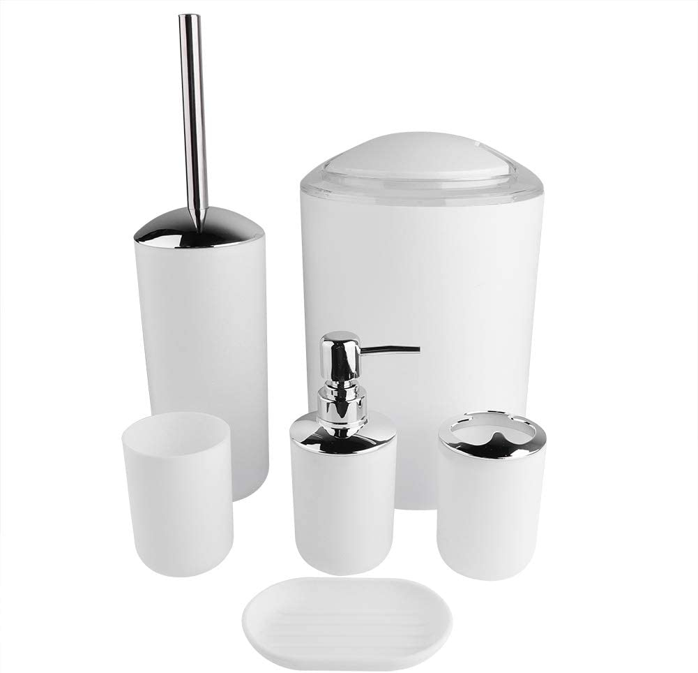 portaspazzolino set di accessori da bagno set da 6 pezzi Dibiao cestino e dispenser di sapone