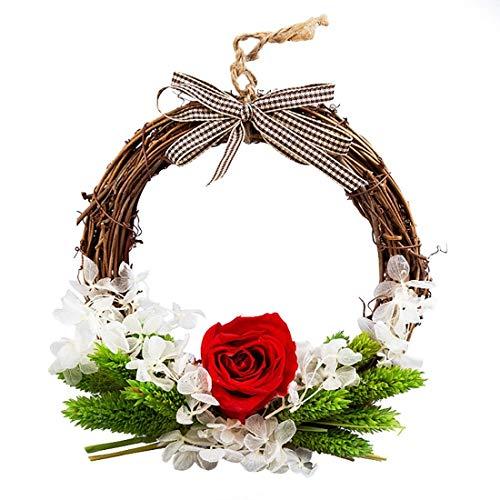 NLRHH Girlande Weihnachten auf handgemachtes Mini Getrocknete Blume Rattan-Kreis Urlaub Tür Hanging an Fenster Vorhang Requisiten 0.62 Zoll - Rote DIY Peng