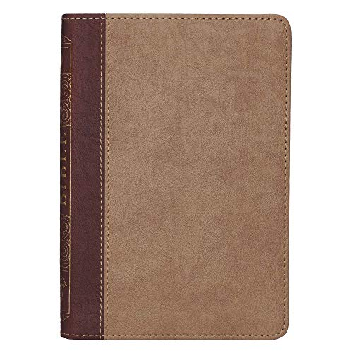 KJV Holy Bible, Compact Bible - Two-Tone Brown Faux Leather Bible w/Ribbon Marker, Red Letter Edition, King James Version (English, Spanish, French, ... Gujarati, Bengali and Korean Edition)