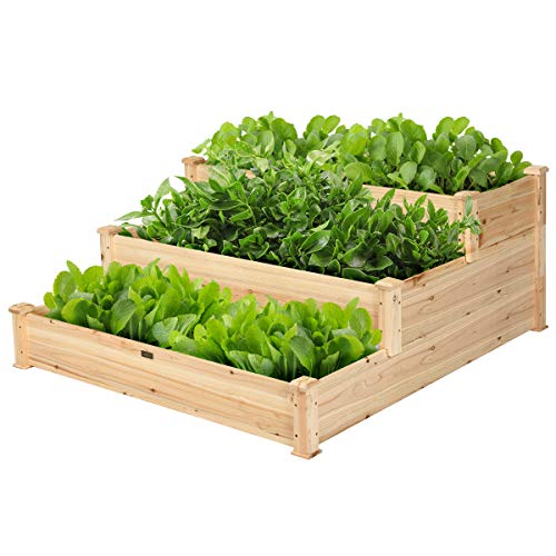 Giantex 3 Tier Wooden Elevated Raised Garden Bed Planter Kit Grow Gardening Vegetable Natural Cedar Wood, 49'X49'X22'