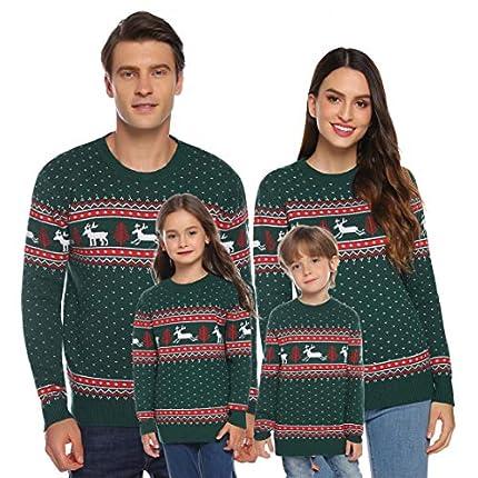 Akalnny Suéteres de Navidad Punto con Cuello Redondo Jersey Casual Unisex de Manga Larga para la Familia Hombres Mujeres Niños