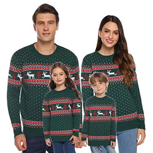 Akalnny Familie Pulli Pullover Weihnachten Herren Sweatshirt Pullis Sweater Damen Kinder Jumper Weihnachtspullis Christmas Rentier Weihnachts Xmas Winterpullover Jungen(Grün,Kinder,Youth 6)