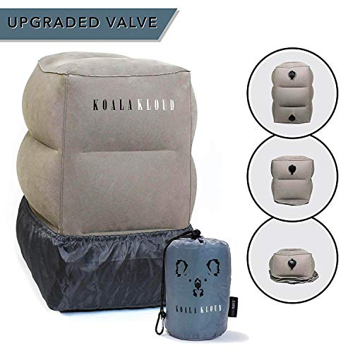 Prazoli Products Koala Kloud Travel Foot Rest Pillow - Inflatable Airplane Footrest | Flight Pillows for Kids | Grey Height Adjustable Toddler Bed |...