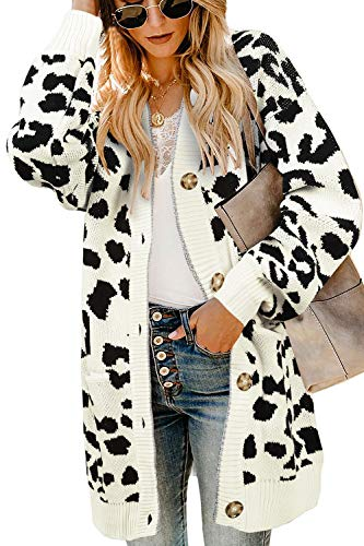 Saodimallsu Womens Open Front Leopard Cardigans Oversized Chunky Long Warm Button Down Knit Sweaters Coats with Pockets