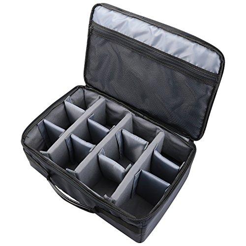 HMF 18442-02 Kameratasche, Kamerakoffer individuelle Trennwände, Spiegelreflex, 44 x 28 x 18 cm, schwarz