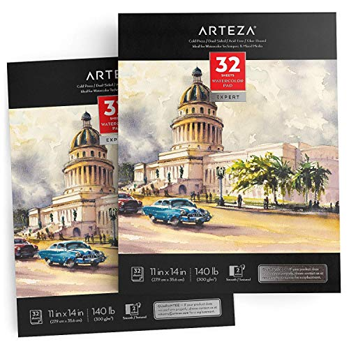Arteza Watercolor Pad Expert 11x14', Pack of 2, 64 Sheets (140lb/300gsm), Cold Pressed, Acid Free Paper, 32 Sheets Each, Ideal for Watercolor Techniques and Mixed Media