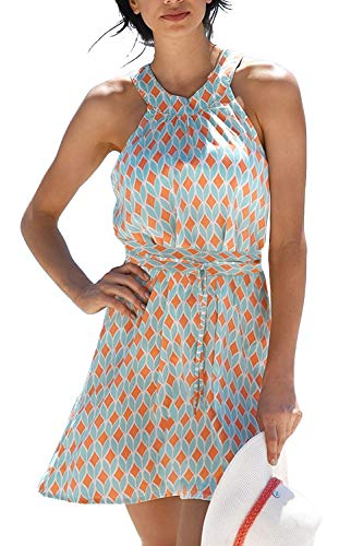 Brosloth Femmes Robes D'été Sexy Épaules Dénudées Petite Robe Imprimé Florale Mini Robe Bretelles Robe Courte De Printemps Orange XL
