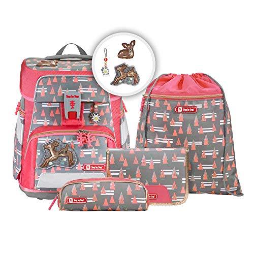 """Step by Step Schulranzen-Set Space """"Modern Deer"""" 5-teilig, rosa-grau, ergonomischer Tornister mit Reflektoren, höhenverstellbar mit Hüftgurt für Mädchen 1. Klasse, 20L"""