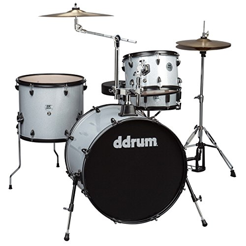 ddrum D2 Rock Series Complete Drum Set with Cymbals, Silver Sparkle