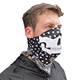 Grace Folly Half Face Mask for Cold Winter Weather. Use this Half Balaclava for Snowboarding, Ski, Motorcycle. (Many Colors) (Skull- BW)