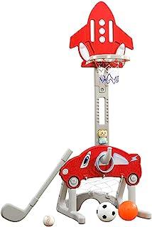 Ring Toss Playset, Age 2-5 kids 5 in 1 kit Indoor Adjustable Holder Basket Ball hoop ,Soccer Goal, Water injection Activit...