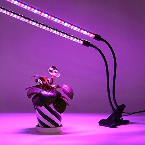 Ruta de acceso al patio al aire libre impermeables sin hilos solar L LED crece la luz 18Watts de doble cabezal con Tiempos de funcionamiento de la lámpara planta de tubos rotación de 360 grados dobl