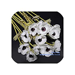 Vicky 9Pcs Pu Anemone Pasque Yellow Daisy Flower Home Bride Wedding Artificial Flower Floral Party Flower