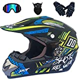 LCRAKON Casco de Motocross para Niños (4 Piezas) - MJH-01 Casco de Moto Casco de Todoterreno de Cara Completa para Niños Adultos Quad Bike Downhill ATV MTB DH Go Karting Casco - Negro Azul - S/M/L/XL