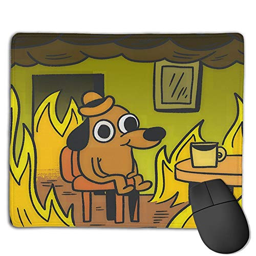 This is Fine Dog Meme Existence is Pain Mouse Pad Gaming Non-Slip Rubber Mousepad, Working or Game 8.6 x 7inch Mouse Mat