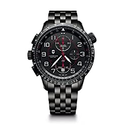 small Men's Watch Pilot Victorinox Air Boss Black Edition with Automatic Stainless Steel …
