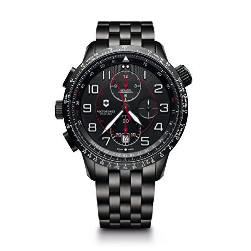 Victorinox Men's Airboss Black Edition Automatic-self-Wind Aviator Watch with Stainless-Steel Strap, 22 (Model: 241742)