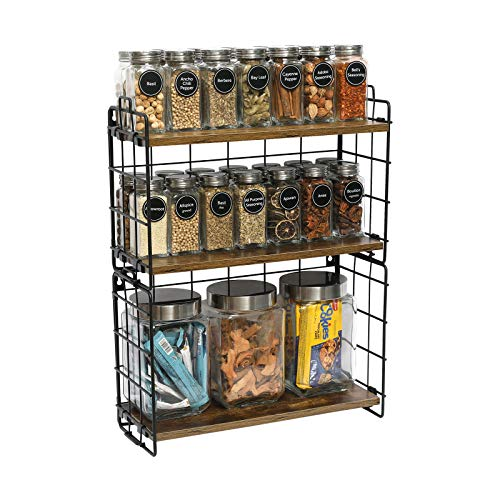 Rolanstar Spice Rack Organizer, 3 Tier Kitchen Bathroom Countertop Storage Shelf with a Wire Basket and 2 S-Hooks, Standing Wood Rack Storage for Spices, Cutlery or Bathroom Accessories, Rustic Brown