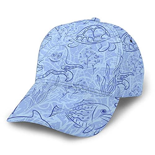 MayBlosom Unisex Baseball Cap Sea Creatures 3D Print Classic Fashion Casual Adjustable Polyester Hat Black