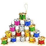 BeautyMood 36PCS Colorful Glitter Mini Drum Christmas Tree Ornaments, Christmas Mini Drums Xmas Tree Hanging Decoration Pendant Christmas Holiday Wedding Party Decor Musical Instrument Christmas Ornam