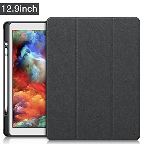 iPad Pro 12.9 ケース Apple Pencil収納 スタンド機能 iVAPO 12.9インチ iPad Pro 保護カバー シンプル 三つ折タイプ 全面保護型 傷つけ防止 iPad Pro12.9手帳型ケース PU 便利なペンホルダー付き New iPad Pro 12.9 Case 2015モデル、2017モデル適用 全3色 (iPad Pro 12.9, ブラック)