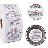 AOFOX Etichette di avvertenza per Candele 1500 Pezzi, Avvertimento di Sicurezza per contenitori Rotondi da 1,5 Pollici per barattoli di Candela per Candele e barattoli di Candele Fai-da-Te (Bianca)