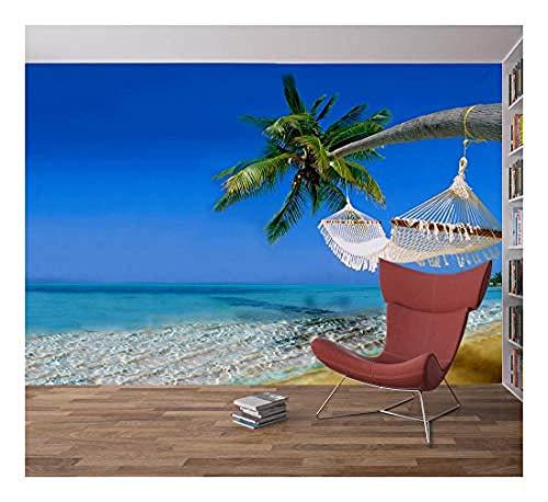 Relovsk fotobehang, wandbehang, strand, tropische boom, hangmat voor zee, hemel, fotobehang, wandbehang, huis, decoratie voor de slaapkamer 200 x 140 cm.