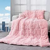 Weighted Blanket 15lbs, Cottonblue Sherpa Faux Fur Reversible Luxury Snugly long fur Warm Heavy Blanket 60x80 inches,Warm Plush Sherpa Microfiber Blanket for Couch Sofa Bed Chair Photo Prop, Pale Pink