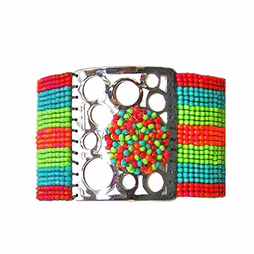 Mishky 'Love and Peace' Silver Plated Mesh Glass Seed Beaded Multi-Colored Cuff Bracelet, Adjustable