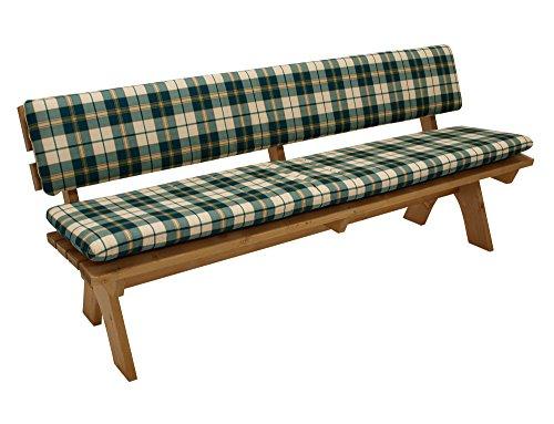 DEGAMO Auflagenset Bankauflage Boston 2-teilig für Bank 4-sitzer 195cm, Sitz- und Rückenpolster, grün-kariert