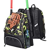OSPOURT Baseball Bag - Baseball Backpack for Boy, Girl and Adult, Softball Bag with Shoes Compartment Holds Baseball Bat, Helmet, Glove, Caps, Shoes and Other Baseball Training Equipment,Camouflage