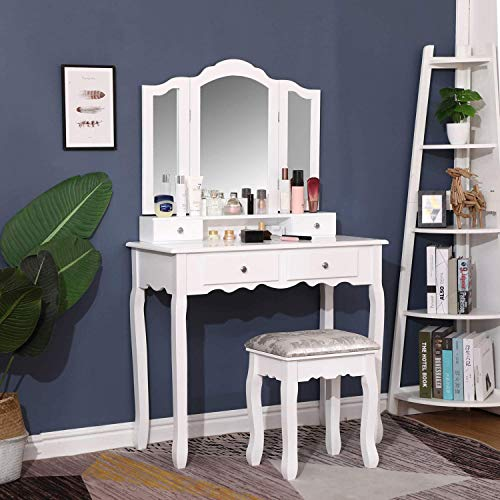 "Vanity Set with Tri-Folding Mirrors & 4 Drawers, 35.5"" Large Makeup Dressing Table with Cushioned Stool, Vanity Desk Bedroom Furniture for Girls Women, White"
