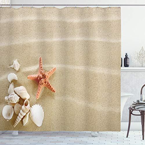 ABAKUHAUS Schale Duschvorhang, Exotische Muscheln mit Sand, Wasser Blickdicht inkl.12 Ringe Langhaltig Bakterie & Schimmel Resistent, 175 x 180 cm, Elfenbein Sepia