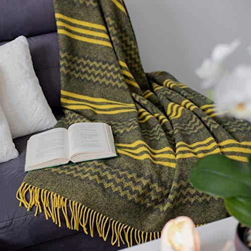 Linen & Cotton Decke Wolldecke Wohndecke Kuscheldecke Melody Gewellt Streifen - 100% Reine Neuseeland Wolle, Anthrazit Grau Gelb (140 x 200 cm) Tagesdecke Überwurf Plaid Blanket Sofa Schurwolldecke