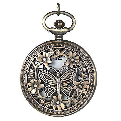 JewelryWe Retro Design Bronze Butterfly Flower Openwork Cover Pocket Quartz Watch with 31.5 Inch Chain, for Valentine's Day