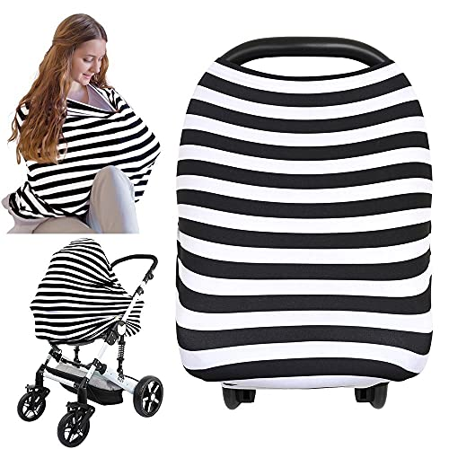 Carseat Canopy Cover - Baby Nursing Cover - All-in-1 Nursing Breastfeeding Covers Up - Baby Car Seat Canopies for Boys, Girls - Stroller Covers - Shopping Cart Cover (BFF Black)