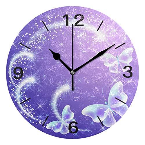Domoko Home Decor Schmetterling Feuerwerk rund lila Acryl Wanduhr Geräuschlos Silent Uhr Kunst für Wohnzimmer Küche Schlafzimmer
