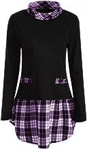NEARTIME Women Autumn Blouse Winter Long Sleeve Plaid Patchwork Coat Plus Size Turtleneck Long Tops T-Shirts