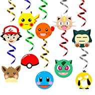 MALLMALL6 30Pcs Pikachu Swirls Decorations Pikachu Birthday Party Decoration Supplies Hanging Whirl Streamers Anime Ceiling Spiral Room Decor Video Game Party Favors Pikachu Stickers for Kids