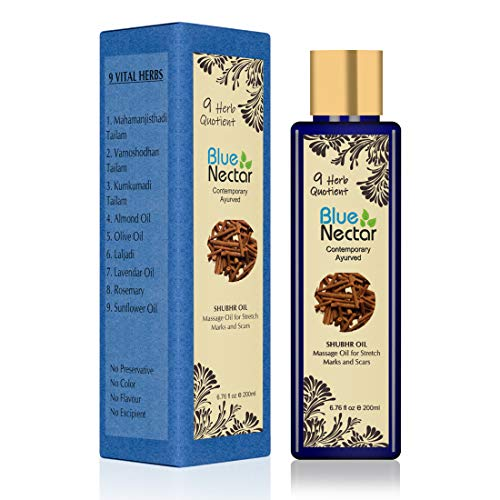 Blue Nectar Ayurvedic Body Massage Bio Oil For Stretch Marks, Scars, Aging & Wrinkled Skin (200 ml)