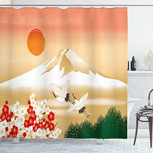 ABAKUHAUS Berg Duschvorhang, Japanische Landschaft Vögel, aus Stoff inkl.12 Haken Digitaldruck Farbfest Langhaltig Bakterie Resistent, 175x180 cm, Pale Camel Multicolor